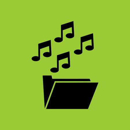 music and media folder thumbnail in LC monitor PC computer vector illustration and icon