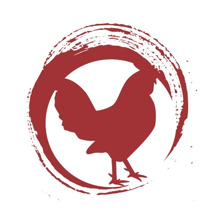 simple chicken red flare animal farm logo