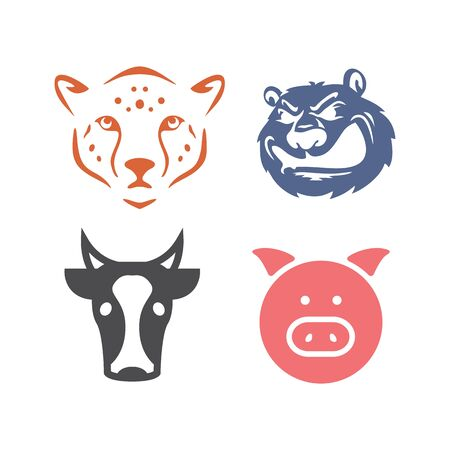 set tiger, bear, cow, and pig head vector logo and illustration