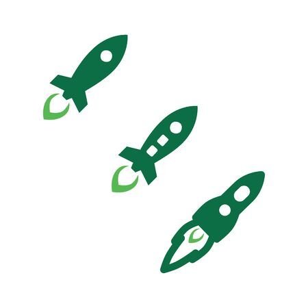 simple rocket launcher space ship vector logo and icon