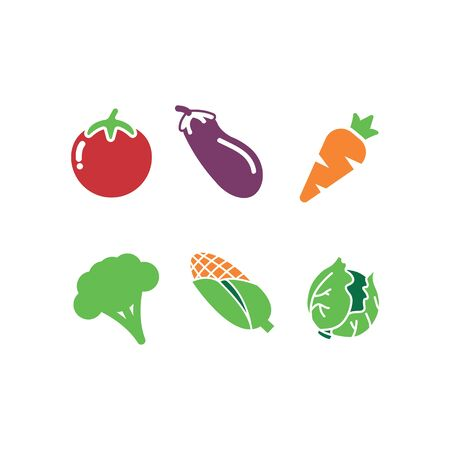set vegetable tomato, carrot, cabbage, broccoli, eggplant, and corn vector logo and illustration Vectores