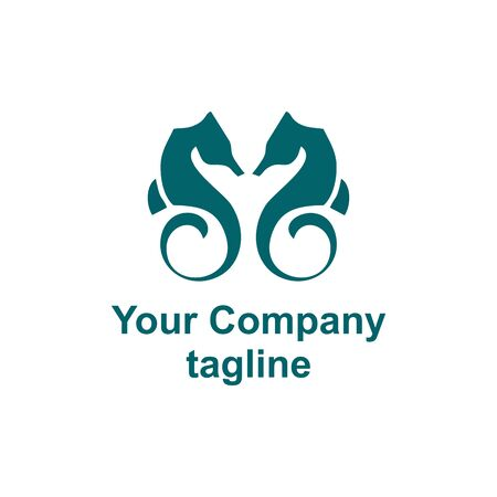 simple couple sea horse company vector logo