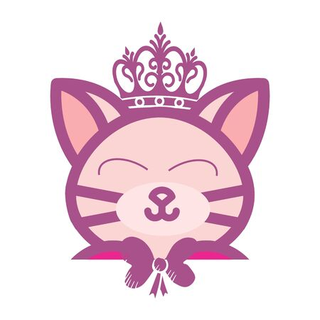 adorable beauty kitty king doll logo and illustration  イラスト・ベクター素材