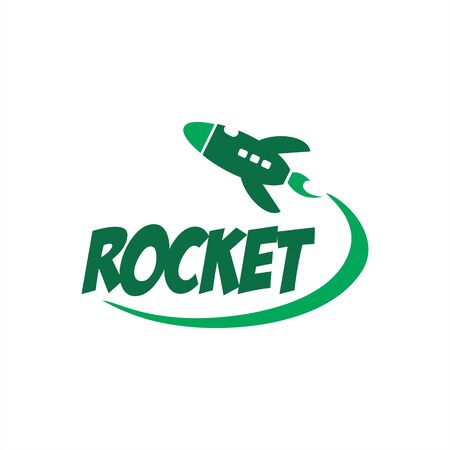 simple rocket launcher space ship vector logo
