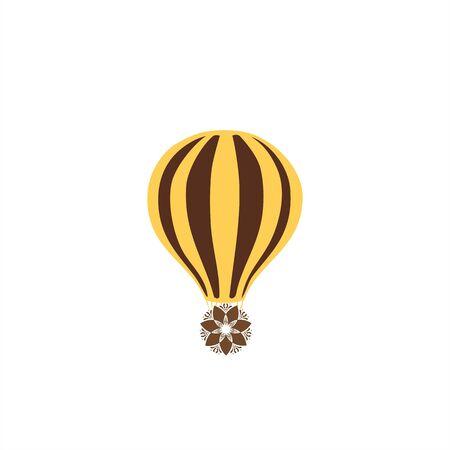 simple hot air balloon vector logo and icon
