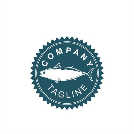 salmon fish restaurant sea food logo and vector illustration