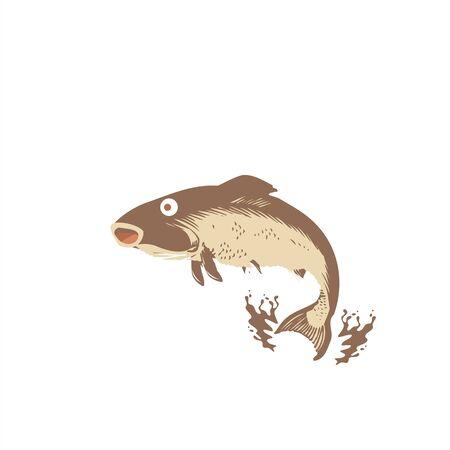 sea food fish restaurant mascot or character logo and vector illustration Ilustracja