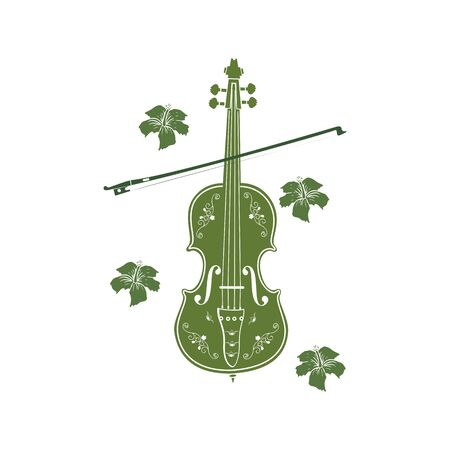 green leaf violin or cello logo and icon  イラスト・ベクター素材