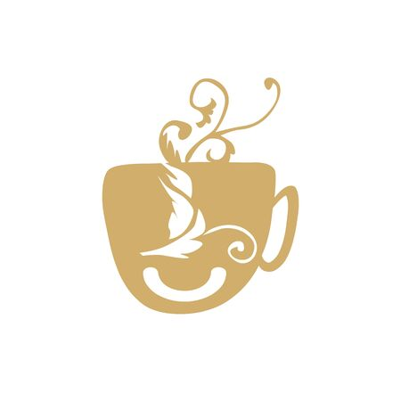 simple artistic cup coffee vintage face pottery art vector logo and icon