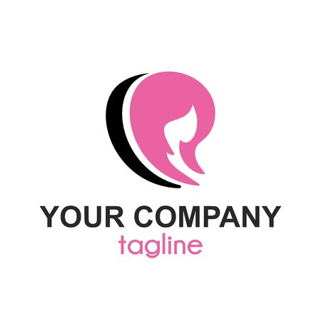 women hair and spa saloon vector company logo and icon