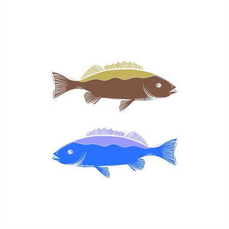 simple set carp fish vector logo and illustration