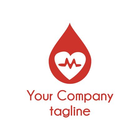 simple m blood heart logo and icon Иллюстрация