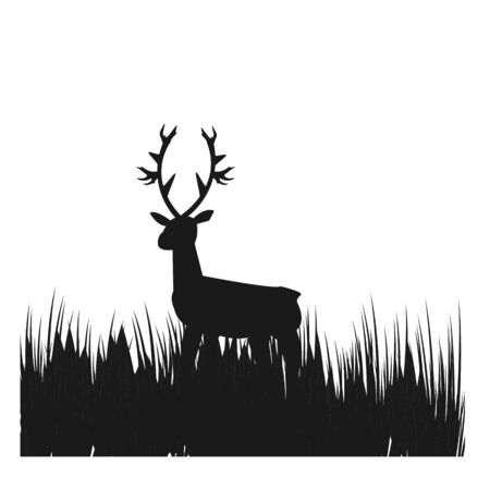 simple picture deer in the grass field vector logo and illustration Foto de archivo - 129859589