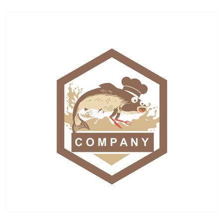 sea food chef fish restaurant mascot or character logo and vector illustration