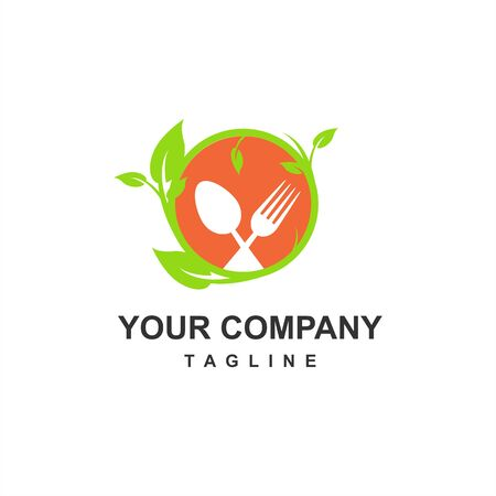 green and fresh food restaurant for keto diet and healthy food company logo and icon Çizim