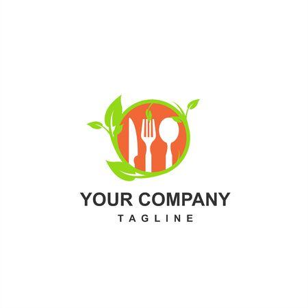 healthy and fresh food for keto diet and vegan restaurant company logo and icon
