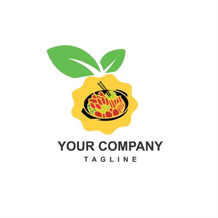 healthy and fresh food restaurant logo and illustration