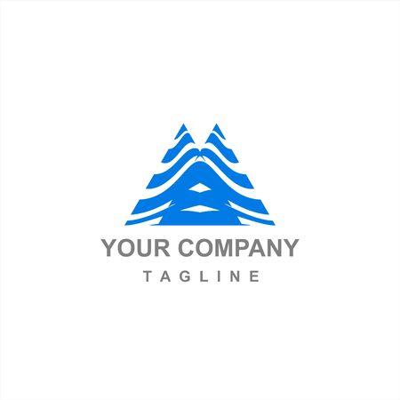 blue triangle mountain vector logo and icon
