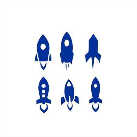 set rocket vector logo and icon for space ship and exploration