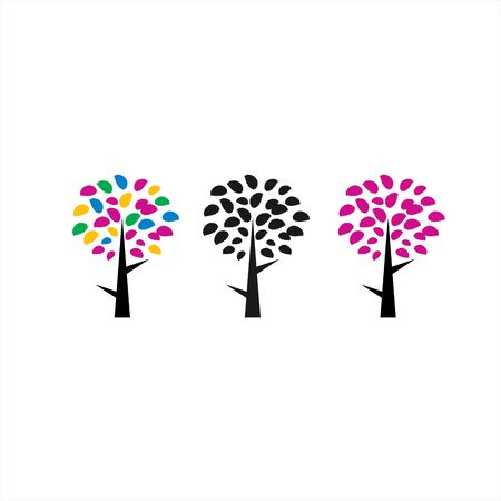 set colorful digital leaf tree company logo and vector icon Stock Illustratie