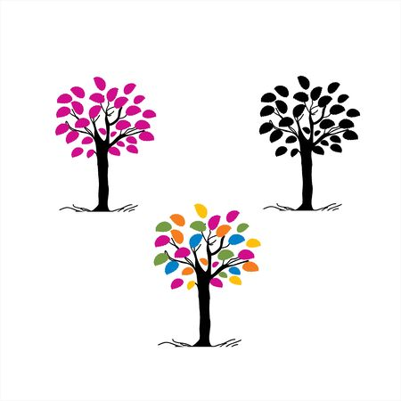 set colorful leaf tree company logo and vector icon Stock Illustratie