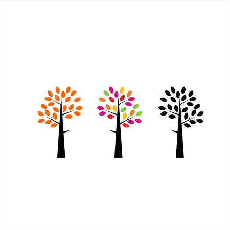 set colorful tree company logo and vector icon