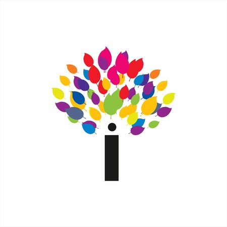 colorful digital leaf tree company logo and vector icon