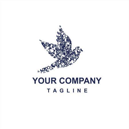 digital black grey dot bird company logo and vector icon