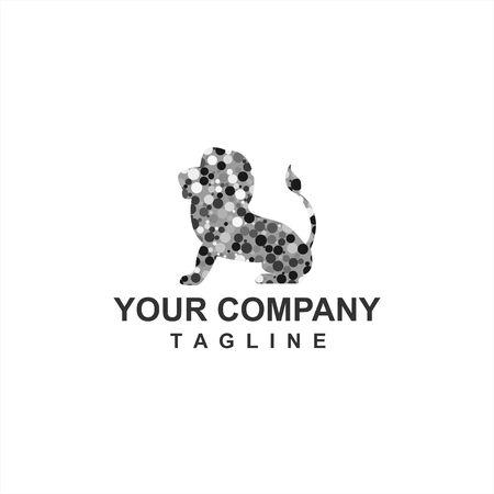 digital black grey dot lion king company logo and vector icon