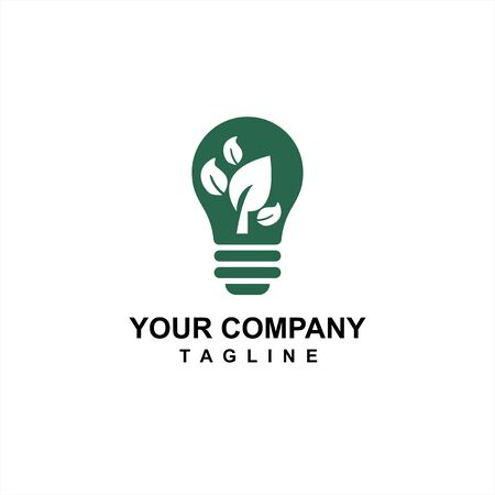 green bulb nature environmental and save energy idea for company logo and icon