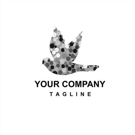 black grey dot bird digital company logo and vector icon