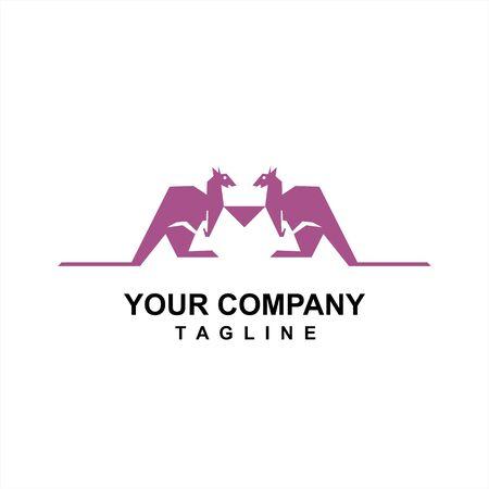 twin kangaroo company vector logo and icon
