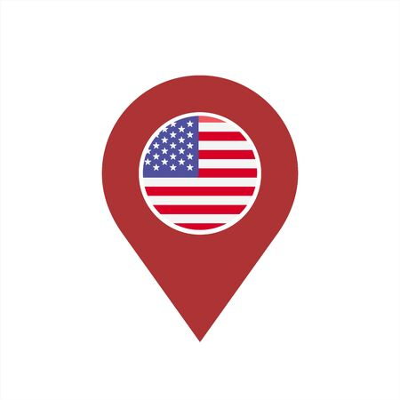 america USA map pin and flag illustration logo and vector icon