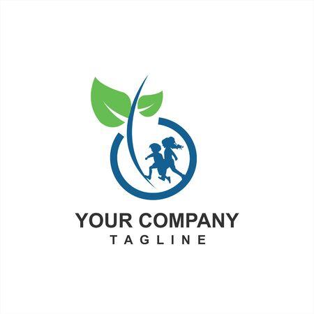 Alimentos orgánicos y granjas para la salud de los niños y el logotipo e ícono de la próxima generación