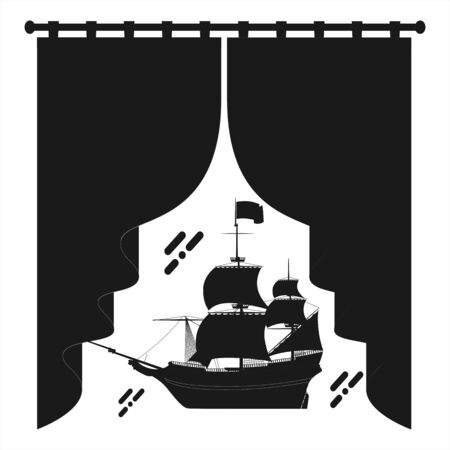 elegant sailing boat illustration performance logo and vector icon Logo