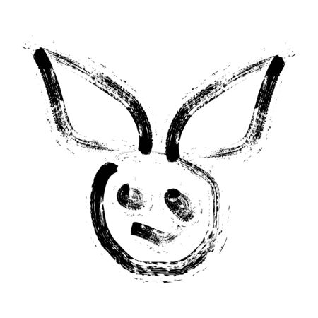 rabbit killer ink art logo and vector