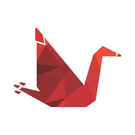 red bird origami polygonal logo and vector icon
