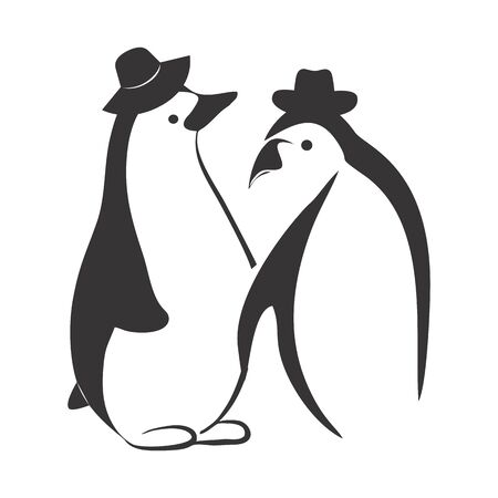 couple fashionable penguin vector logo and icon Vettoriali