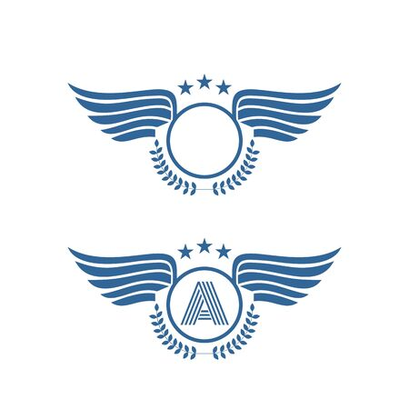 A wings insignia sport competition winner logo and vector icon