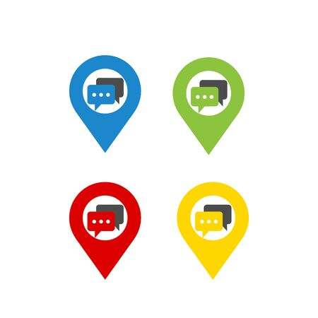 set colorful world map pointer message bubble icon and vector logo