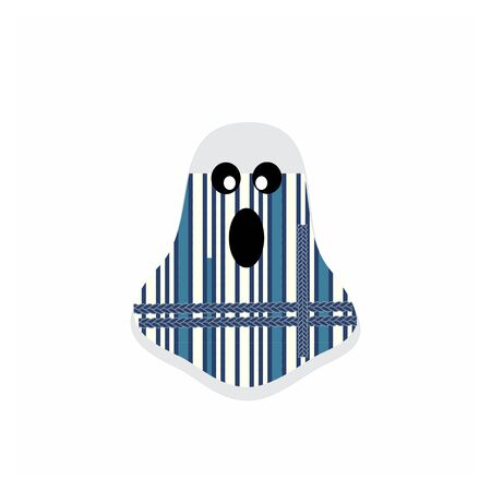 funny ghost party costume logo and vector illustration