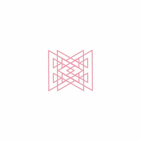line art geometrical dynamic technology logo and vector icon