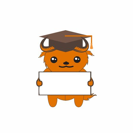 cartoon cute deer or shaun mascot logo and vector character illustration Иллюстрация