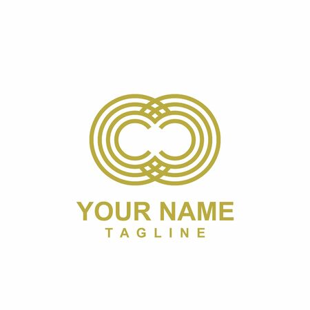 CC, CO, OC, OO initials geometric logo and vector icon Иллюстрация