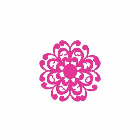 pink beautiful flower logo and vector icon Иллюстрация