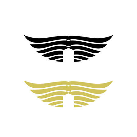 eagle, angel, and demon wing logo and vector icon