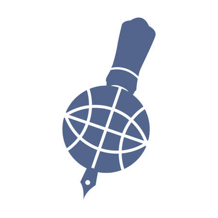 pen tool freehand write global news letter logo and vector icon