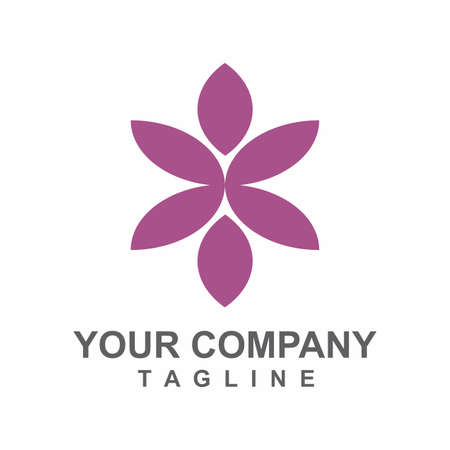 SPA and aesthetic purple orchid flower vector logo and icon