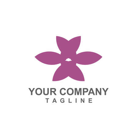 purple orchid flower logo and vector icon Иллюстрация