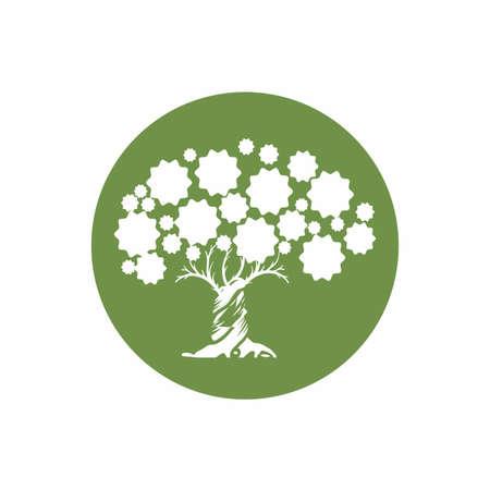 digital star circle green tree logo and vector icon